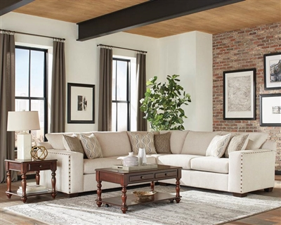 Aria L-shaped Sectional in Oatmeal Chenille Fabric by Coaster - 508610