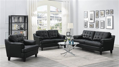 Freeport 2 Piece Sofa Set in Black Leatherette Upholstery by Coaster - 508631-S