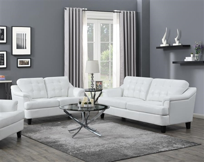 Freeport 2 Piece Sofa Set in Snow White Leatherette Upholstery by Coaster - 508634-S
