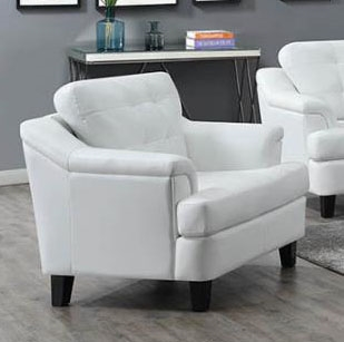 Freeport Chair in Snow White Leatherette Upholstery by Coaster - 508636