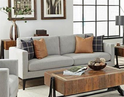 Apperson Sofa in Light Grey Woven Fabric by Coaster - 508681