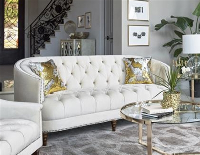 Avonlea Sofa in Off White Velvet Fabric by Coaster - 509161