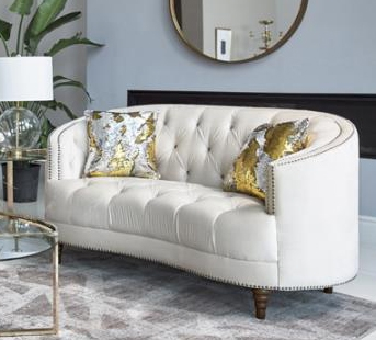 Avonlea Loveseat in Off White Velvet Fabric by Coaster - 509162