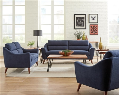 Gano 2 Piece Living Room Set in Navy Blue Fabric by Coaster - 509514-S