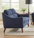 Gano Loveseat in Navy Blue Fabric by Coaster - 509515