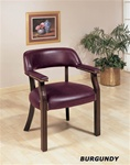 Burgundy Vinyl Guest Chair in Cappuccino Finish by Coaster - 511B