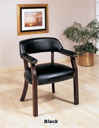 Black Vinyl Guest Chair in Cappuccino Finish by Coaster - 511K
