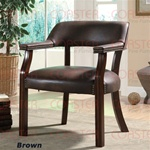 Brown Vinyl Guest Chair in Cappuccino Finish by Coaster - 513BRN