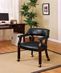Black Vinyl Guest Chair in Mahogany Finish with Casters by Coaster - 515K