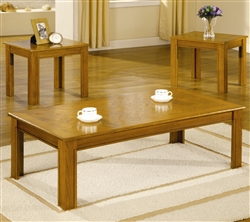 3 Piece Occasional Table Set in Golden Oak Finish by Coaster - 5168