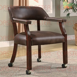 Brown Vinyl Guest Chair in Mahogany Finish with Casters by Coaster - 517BRN