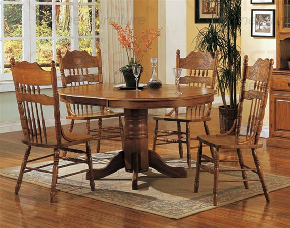 Merveilleux Nostalgia 5 Piece 42 Inch Round Dining Set With Press Back Chairs In Light  Oak Finish ...