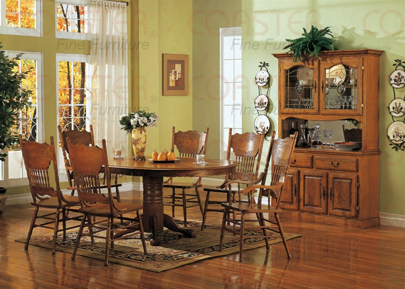 Nostalgia 5 Piece 48 Inch Round Oval Dining Set With Press Back Chairs In Light Oak Finish
