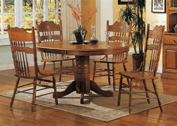 Prime Nostalgia 5 Piece 48 Inch Round Oval Dining Set With Post Press Back Chairs In Light Oak Finish By Coaster 5279Nnn Download Free Architecture Designs Aeocymadebymaigaardcom