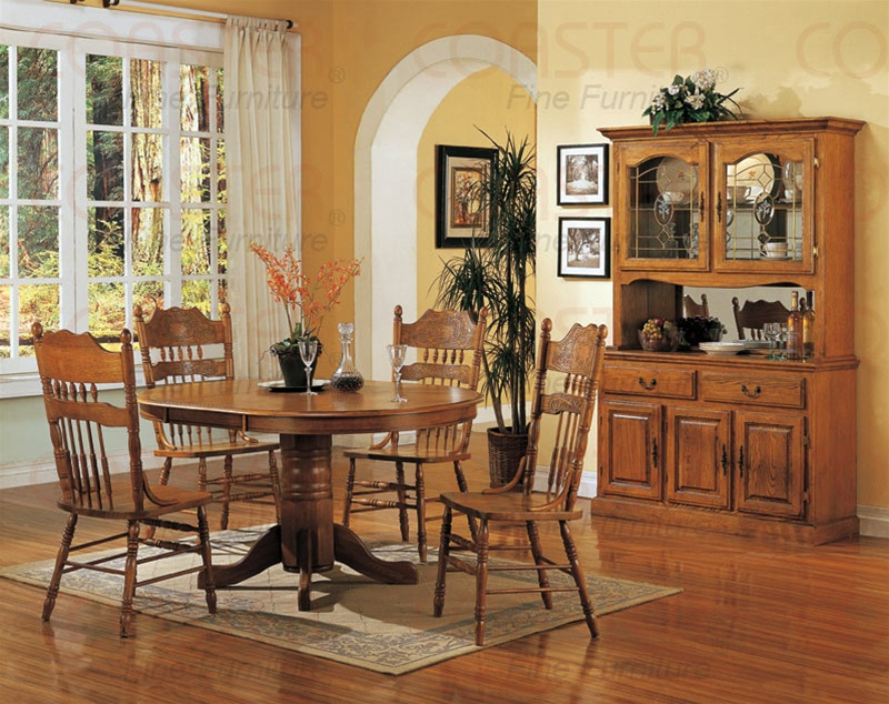 Nostalgia 5 Piece 48 Inch Round/Oval Dining Set With Post Press Back Chairs  In Light Oak Finish By Coaster   5279NNN