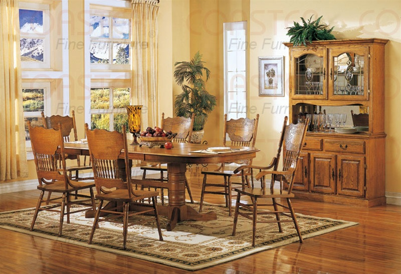 Nostalgia 7 Piece Double Trestle Dining Set With Press Back Chairs In Light Oak Finish By Coaster 5396n