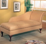 Neutral Creamy Tan Microfiber Chaise Lounge with Flip Open Seat by Coaster - 550058