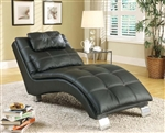 Black Leather Like Vinyl Accent Chaise by Coaster - 550075