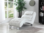 White Leather Like Vinyl Accent Chaise by Coaster - 550078