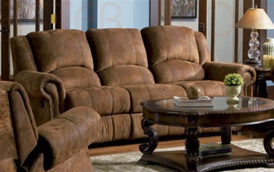 Rawlin Double Reclining Sofa In Distressed Padded Microfiber Upholstery By  Coaster   COA 550151