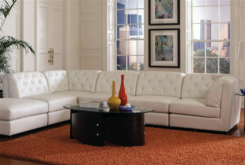 Quinn 5 Piece White Leather Sectional By Coaster 551021