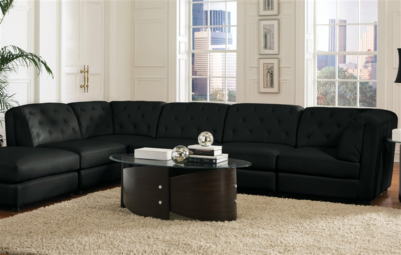 Pleasing Quinn 5 Piece Black Leather Sectional By Coaster 551031 Machost Co Dining Chair Design Ideas Machostcouk