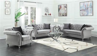Frostine 2 Piece Sofa Set in Tufted Silver Velvet by Coaster - 551161-S