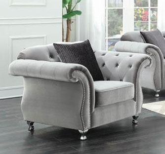 Frostine Chair in Tufted Silver Velvet by Coaster - 551163