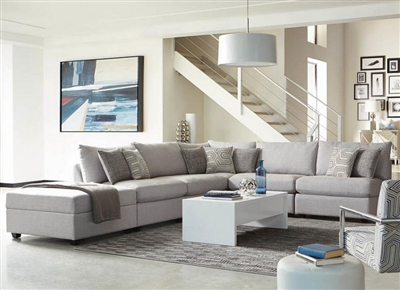 Charlotte 6 Piece Sectional in Grey Fabric Upholstery by Coaster - 551221-6