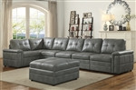Ellington 6 Piece Modular Sectional in Stone Grey Leatherette by Coaster - 551291