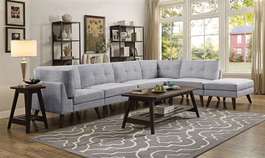Churchill 5 Piece Modular Sectional In Grey Fabric By Coaster 551301