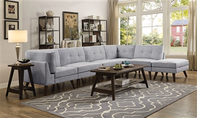 Churchill 5 Piece Modular Sectional in Grey Fabric by Coaster - 551301