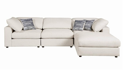 Serene 4 Piece Sectional in Beige Linen Blend Fabric by Coaster - 551321-04
