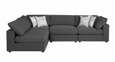 Serene 4 Piece Sectional in Charcoal Linen Blend Fabric by Coaster - 551324-4