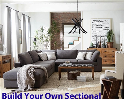 Serene Charcoal Linen Blend Fabric BUILD YOUR OWN Sectional by Coaster - 551324-B
