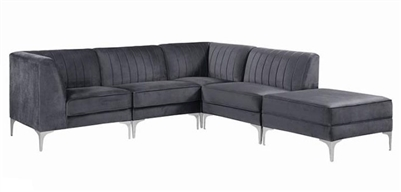 Cassandra 5 Piece Sectional in Grey Velvet Upholstery by Coaster - 551371-5