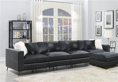 Schwartzman 5 Piece Sectional Sofa in Charcoal Velvet Upholstery by Coaster - 551391-005