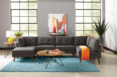 Churchill 5 Piece Modular Sectional in Dark Grey Fabric by Coaster - 551401-5