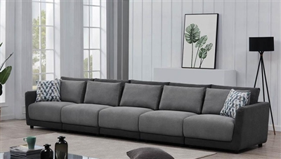 Seanna 5 Piece Sectional Sofa in Two Tone Grey Chenille by Coaster -  551441-05