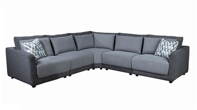 Seanna 5 Piece Sectional in Two Tone Grey Chenille by Coaster - 551441-5