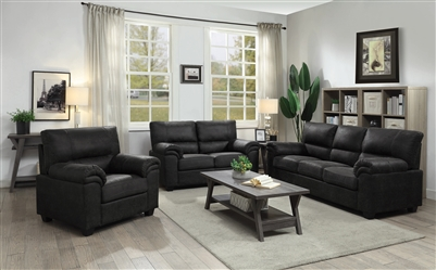 Ballard 2 Piece Sofa Set in Charcoal Microfiber Upholstery by Coaster - 552021-S