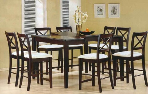 Cappuccino Finish Counter Height 9 Piece Dining Set With Butterfly Leaf By  Coaster   5846