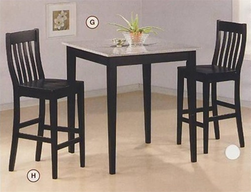 Black Finish Granite Top Counter Height 3 Piece Bar Table Set By