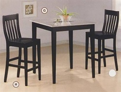 Black Finish Granite Top Counter Height 3 Piece Bar Table Set By Coaster 5868