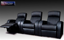 Cinema Collection Seating - 3 Black Leather Chairs By Coaster 6000013