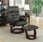 Chocolate Glider Recliner Chair with Matching Ottoman by Coaster - 600084