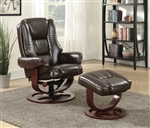 Brown Glider Recliner Chair with Matching Ottoman by Coaster - 600086