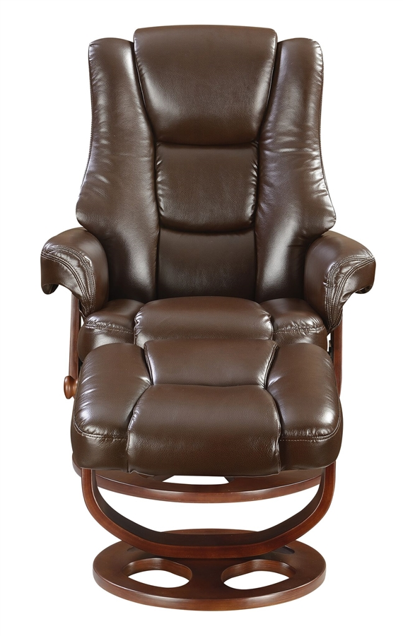 Brown Glider Recliner Chair With Matching Ottoman By