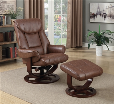 Brown Glider Recliner Chair with Matching Ottoman by Coaster - 600087