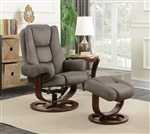 Grey Glider Recliner Chair with Matching Ottoman by Coaster - 600096